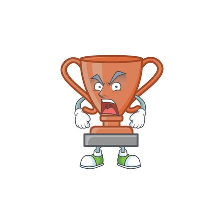 Angry bronze trophy cartoon character with mascot vector illustration Иллюстрация