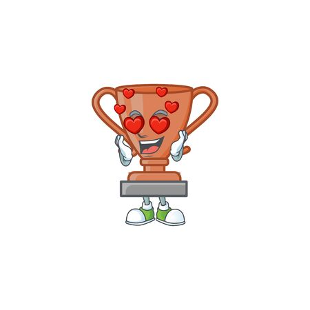 In love bronze trophy cartoon character with mascot vector illustration