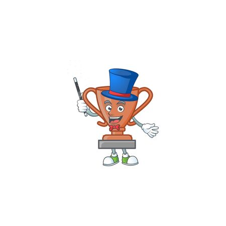 Magician icon bronze trophy in the cartoon vector illustration