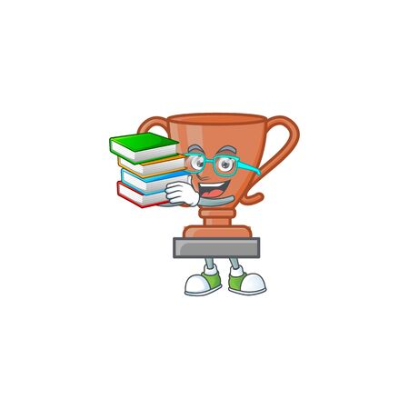 Student with book icon bronze trophy in the cartoon vector illustration