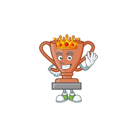 King icon bronze trophy in the cartoon vector illustration