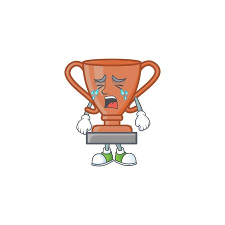Crying bronze trophy cartoon character with mascot vector illustration