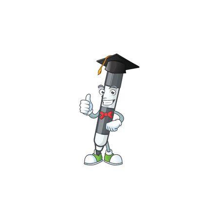 Graduation black white board marker for draw. vector illustration
