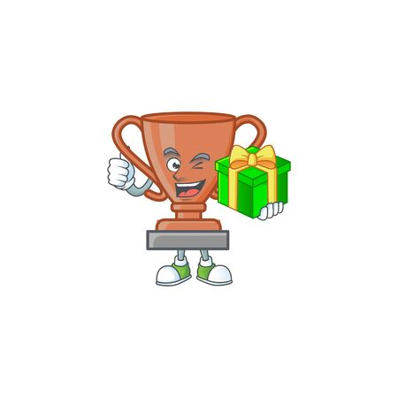 With gift bronze trophy cartoon character with mascot vector illustration Иллюстрация