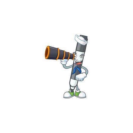 Sailor with binocular black white board marker in cartoon vector illustration