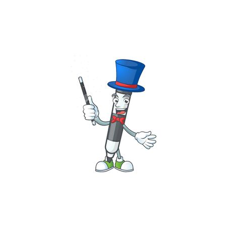 Magician black white board marker with mascot vector illustration