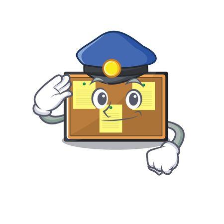 Police bulletin board with the cartoon shape