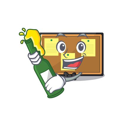 With beer toy bulletin board on the cartoon vector illustration