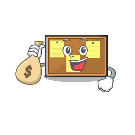 With money bag bulletin board with the cartoon shape