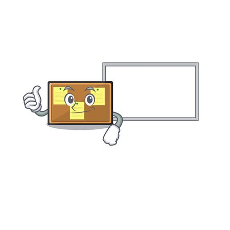 Thumbs up with board bulletin board with the cartoon shape Çizim