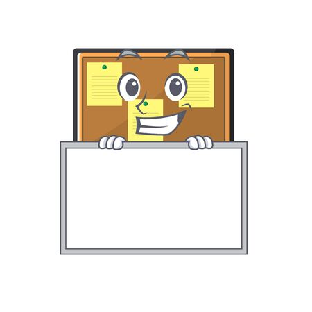 Grinning with board bulletin board with the cartoon shape