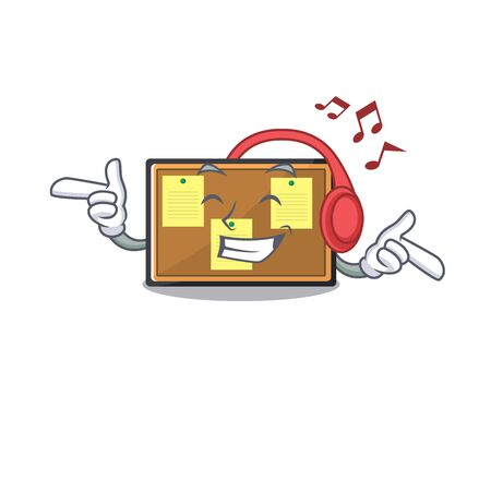 Listening music bulletin board isolated in the mascot vector illustration Çizim