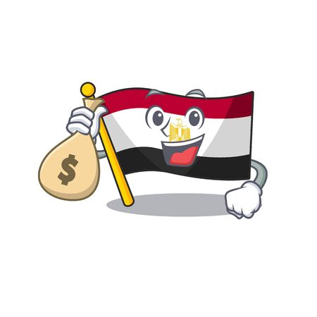 With money bag flag egypt mascot the character shape vector illustration