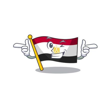Wink flag egyptian flown on cartoon pole vector illustration