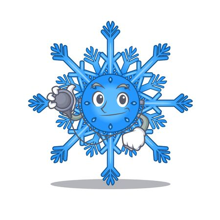 Doctor snowflake cartoon with the character shape vector illustration