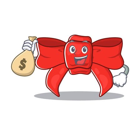 With money bag red ribbon bow on the cartoon