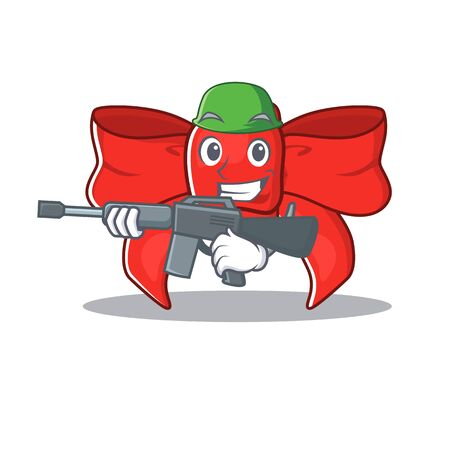 Army red ribbon bow on the cartoon