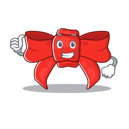 Thumbs up red ribbon bow isolated the character