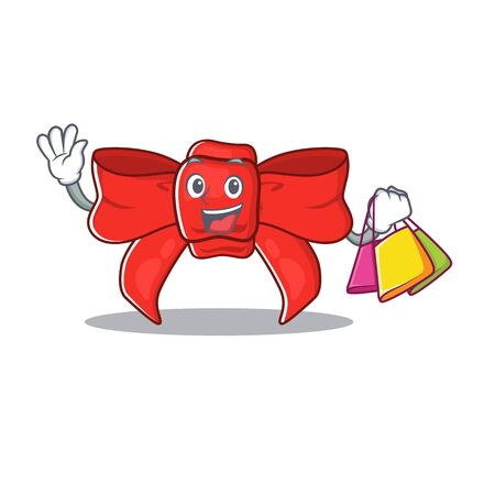 Shopping red ribbon bow isolated the character Иллюстрация