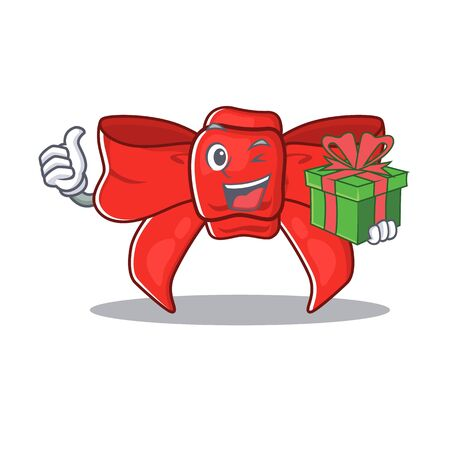 With gift red ribbon bow the mascot shape