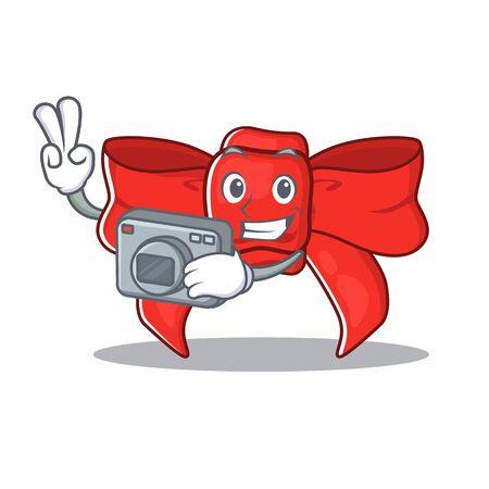 Photographer red ribbon bow the mascot shape Illusztráció