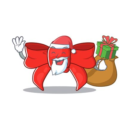 Santa with gift red ribbon bow with the cartoon