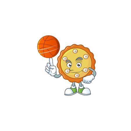 With basketball cake apple pie sweet for dessert. vector illustration
