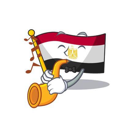 With trumpet flag egypt folded in mascot cupboard Illustration