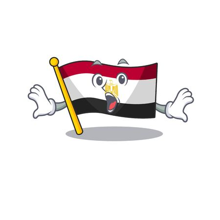 Surprised flag egypt folded in mascot cupboard vector illustration 向量圖像