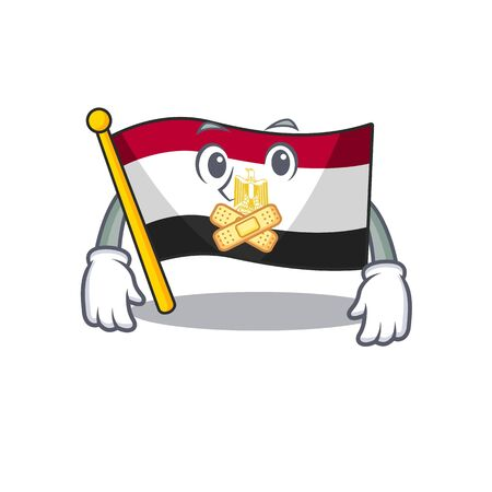 Silent flag egypt character isolated with cartoon Stock Illustratie