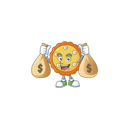 With money bag cake apple pie sweet for dessert. vector illustration 版權商用圖片 - 132116948