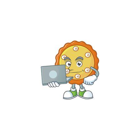 With laptop cake apple pie sweet for dessert. vector illustration