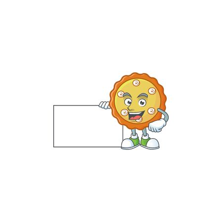 Thumbs up with board cake apple pie sweet for dessert. vector illustration  イラスト・ベクター素材