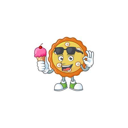 With ice cream sweet apple pie with fruit fresh.