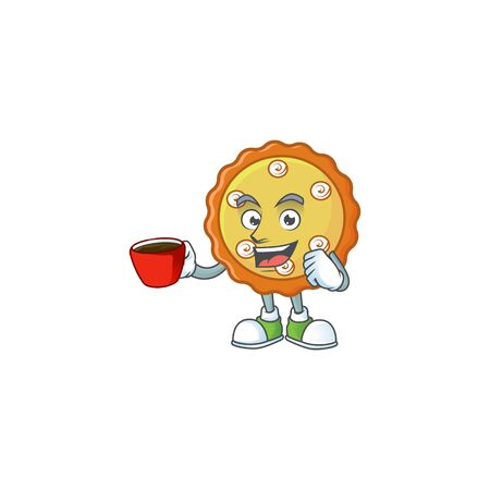 Drinking in cup sweet apple pie with fruit fresh. illustration Ilustracja
