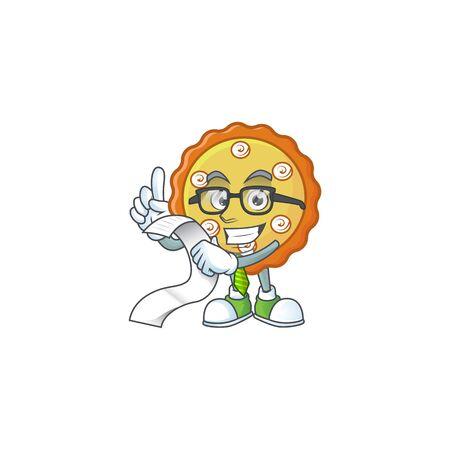 With menu cake apple pie cartoon character shape illustration Ilustracja
