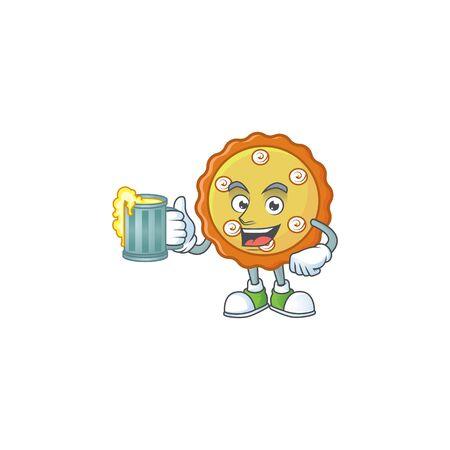 With juice cake apple pie cartoon character shape  illustration Ilustracja