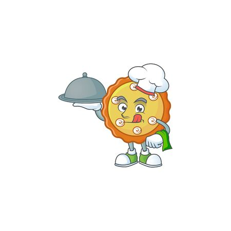 Chef with food cake apple pie cartoon character shape illustration