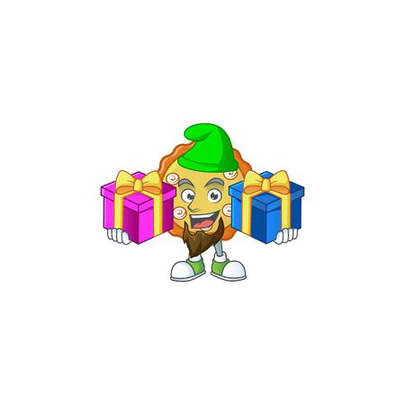 Bring two gifts apple pie cartoon character with mascot illustration