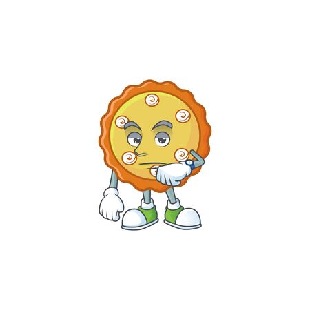 Waiting apple pie cartoon character with mascot illustration