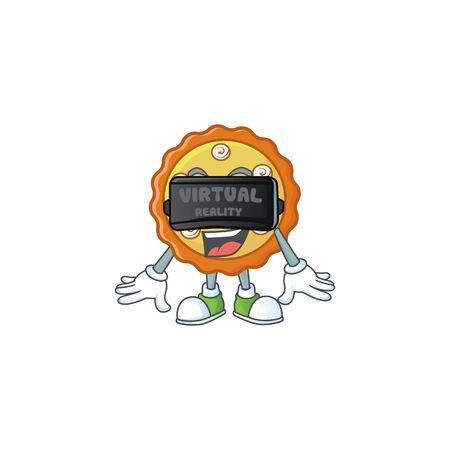 Virtual reality cake apple pie cartoon character shape illustration Ilustracja
