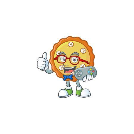 Gamer cake apple pie cartoon character shape  illustration