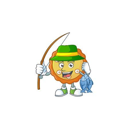 Fishing cake apple pie cartoon character shape illustration