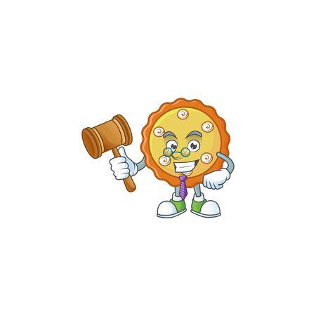 Judge apple pie cartoon character with mascot illustration