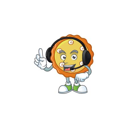 With headphone apple pie cartoon character with mascot vector illustration
