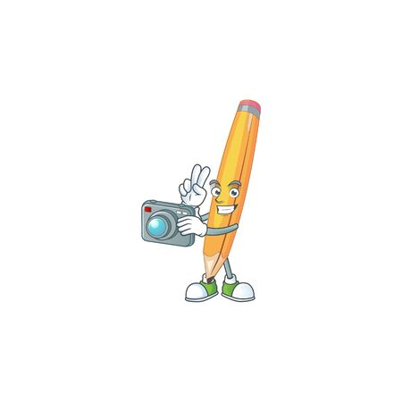 Photographer pencil stationery for in elementary school. 向量圖像