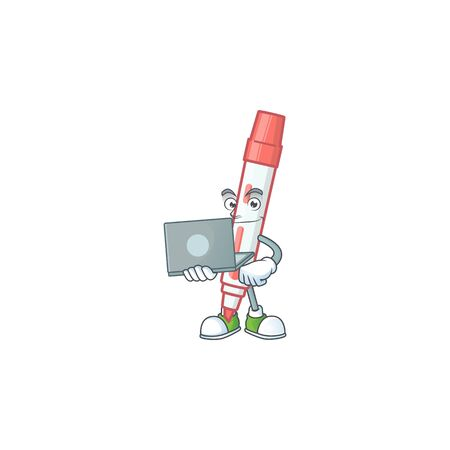 With laptop red white board marker in cartoon vector illustration