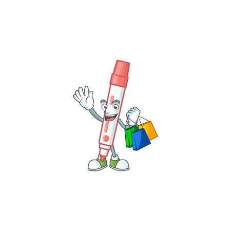 Shopping icon red white board marker with mascot vector illustration