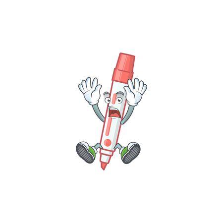 Scream icon red white board marker with mascot vector illustration Illusztráció