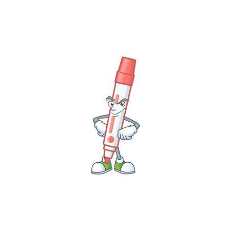 Smirking icon red white board marker with mascot vector illustration Illusztráció